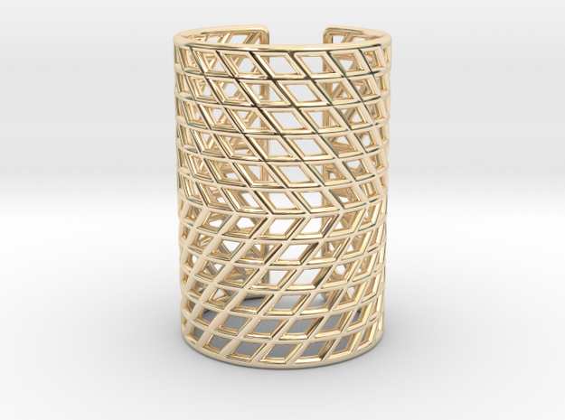 Adjustable Mesh Grid Ring: Size 5-7 in 14k Gold Plated Brass