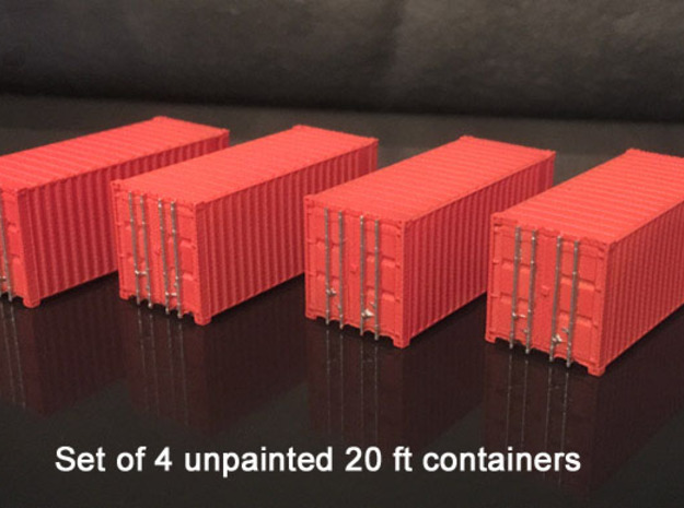 N scale container 20ft x4 in Smooth Fine Detail Plastic