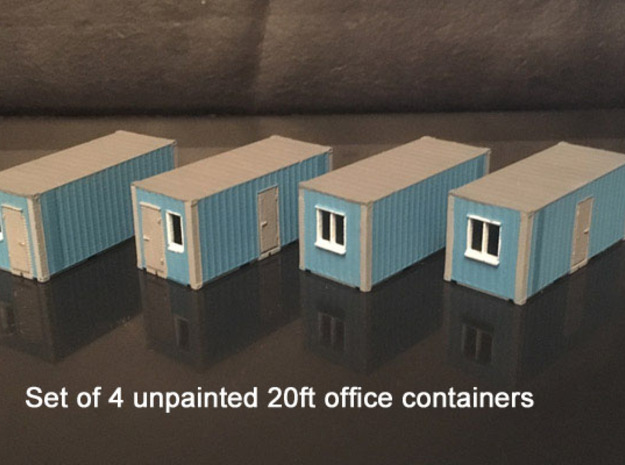 N scale 20ft office container x 4 in Smooth Fine Detail Plastic