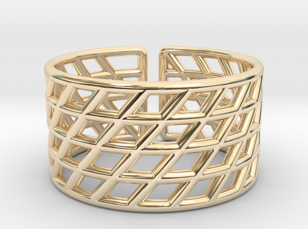 Mesh Grid Ring: Size 6-7 in 14k Gold Plated Brass