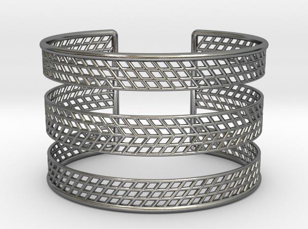 Mesh Grid Cuff V2 in Polished Silver