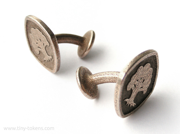 Cufflinks MTG Green Mana Symbol (Forest) in Polished Bronzed-Silver Steel
