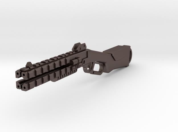 Peacekeeper shotgun keychain fob in Polished Bronzed-Silver Steel