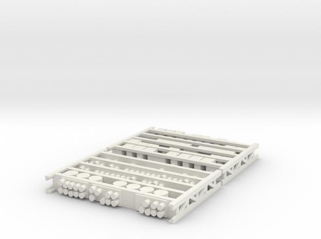HO Warehouse Shelving Full of Detailing in White Natural Versatile Plastic