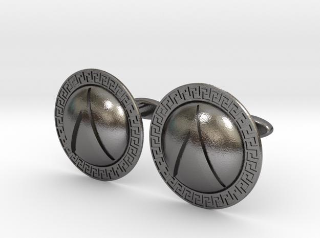 Spartan Shield Cufflinks in Polished Nickel Steel