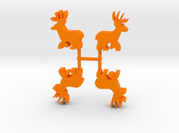 Deer Buck Meeple, running, 4-set in Orange Processed Versatile Plastic