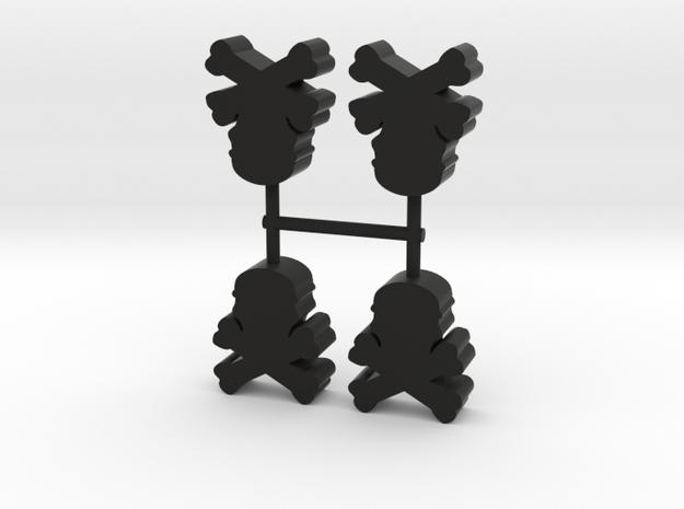 Skull and Bones Meeple, 4-set in Black Natural Versatile Plastic