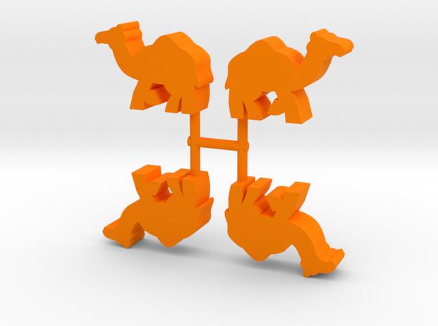 Camel Meeple, running, 4-set in Orange Processed Versatile Plastic
