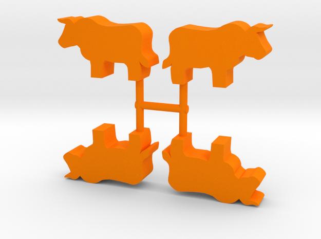 Bull Meeple, standing, 4-set in Orange Processed Versatile Plastic