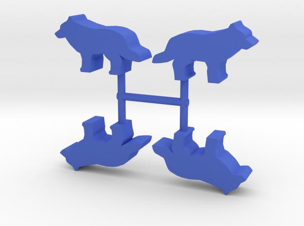 Wolf Meeple, standing, 4-set in Blue Processed Versatile Plastic