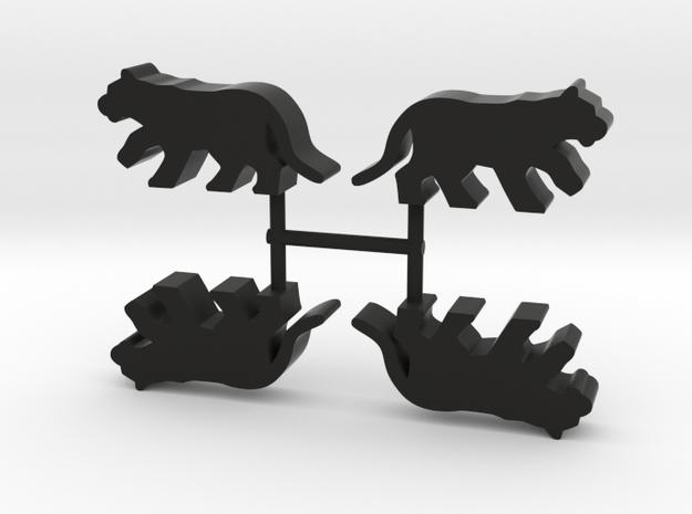 Big Cat Meeple, running, 4-set in Black Natural Versatile Plastic