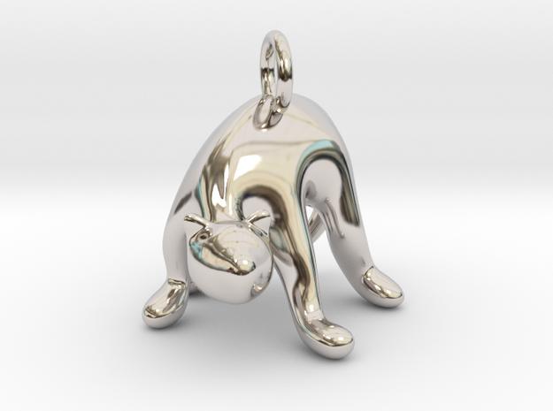 cat_015 in Rhodium Plated Brass