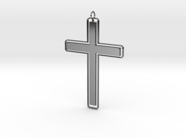 Outline Solid Cross Pendant in Fine Detail Polished Silver: Medium