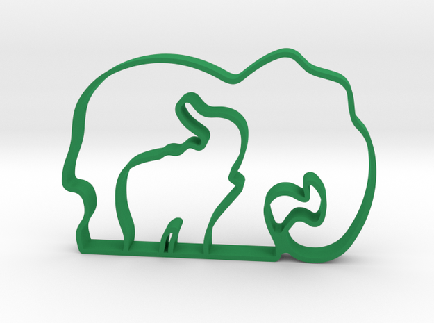 Cookie cutter - puzzle elephants in Green Processed Versatile Plastic