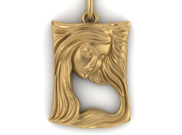 Art Nouveau Lady face pendant in Smooth Fine Detail Plastic