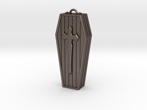 Coffin pendant in Polished Bronzed-Silver Steel