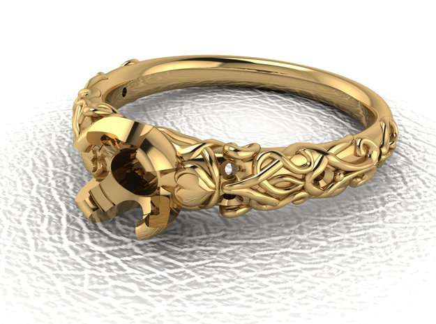 Pattern solitaire ring NO STONES SUPPLIED in 18K Yellow Gold