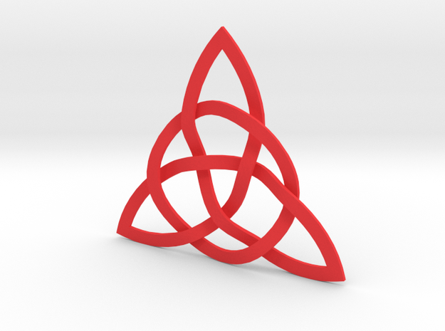 Trinity Knot in Red Processed Versatile Plastic