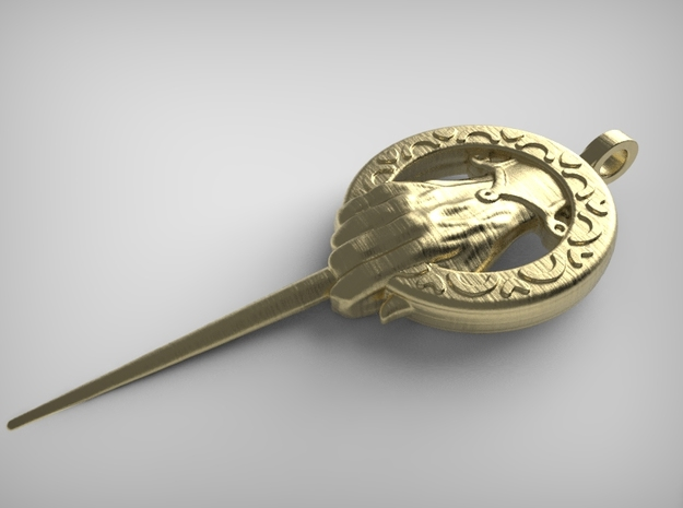 Hand of the King Keychain Game of Thrones in Polished Gold Steel