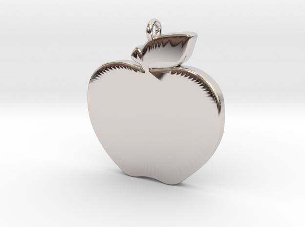 Apple-Pendant-Stl-3D-Printed-Model in Rhodium Plated Brass: Medium