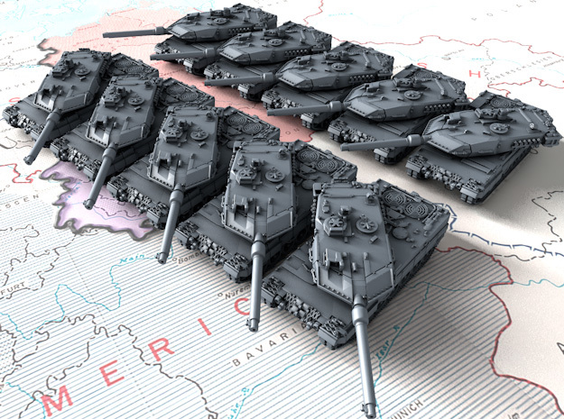 1/700 Leopard 2A6 MBT w. Rotating Turret x10 in Smoothest Fine Detail Plastic