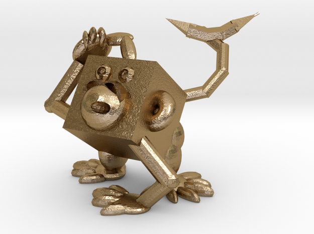 Monkey #3DblockZoo in Polished Gold Steel