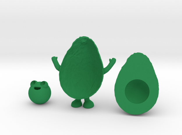 Avocado Man in Green Processed Versatile Plastic