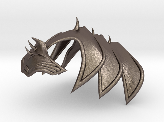 Cat Armor Helmet in Polished Bronzed-Silver Steel