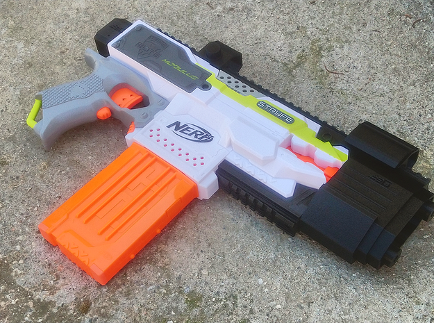 Laser Pulse Submachine Blaster Kit for Nerf Stryfe in Yellow Processed Versatile Plastic