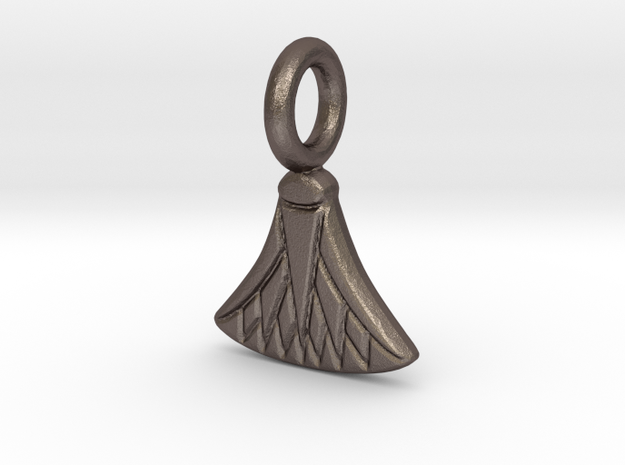 Small Waterlily charm in Polished Bronzed-Silver Steel