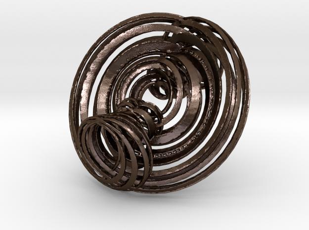 Triple Torus in strips in Polished Bronze Steel