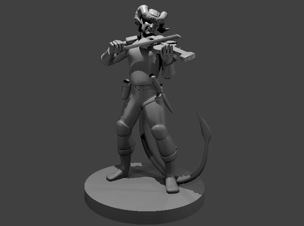 Tiefling Bard with a Fiddle in Smooth Fine Detail Plastic