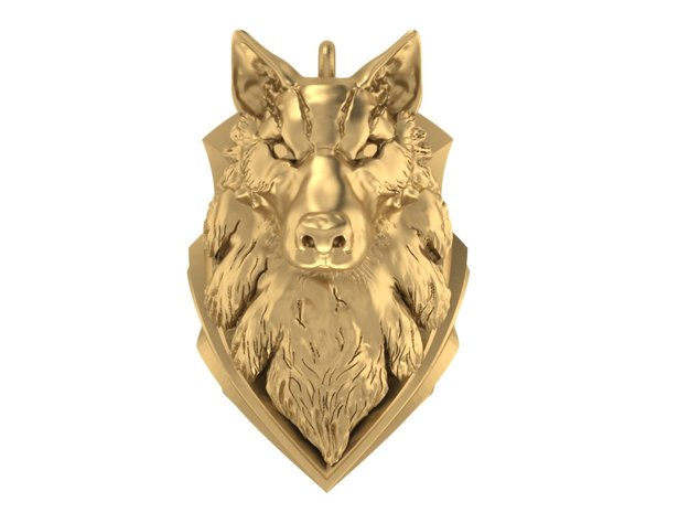 Wolf pendant in Frosted Ultra Detail