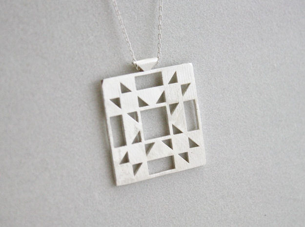 Amish Star Quilt Block Pendant in Natural Silver