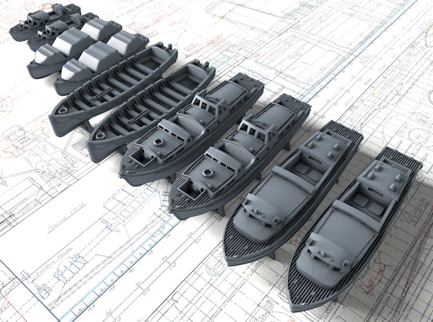 1/600 WW2 Royal Navy Boat Set 3 with Mounts in Smoothest Fine Detail Plastic