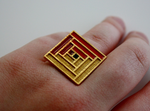 Log Cabin Ring - US Size 07 3d printed
