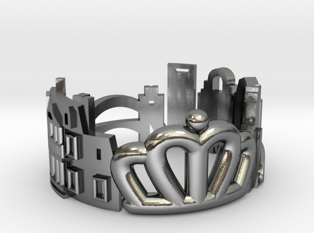 Charlotte Cityscape Ring - Queen City Jewelry in Polished Silver: 8 / 56.75