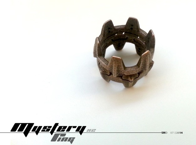 Mystery Ring (19 mm opening) in Polished Bronzed Silver Steel