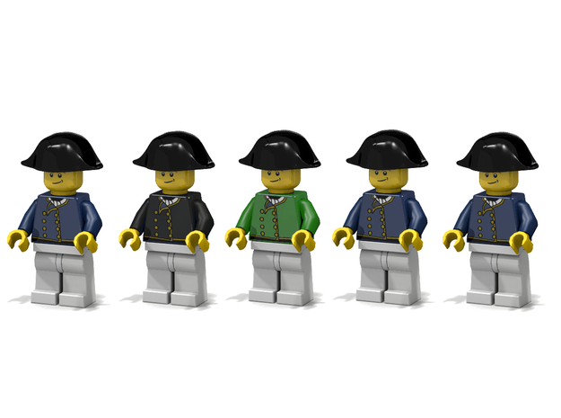 5 x British Navy Bicorne 3d printed Render of example usage (decals by Mosana/Woody64)