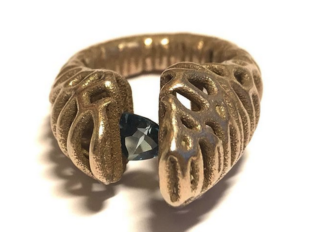 Cell Ring in Polished Gold Steel