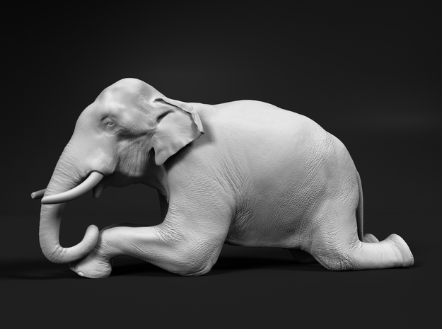 Indian Elephant 1:48 Kneeling Male in White Natural Versatile Plastic