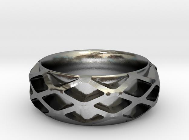 Diamond Filigree Band in Polished Silver: 6 / 51.5