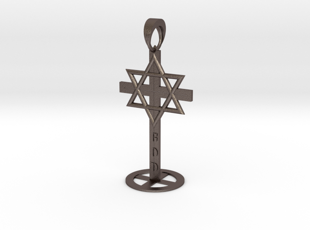 Prophecy_Sculpture_Christianity_Islam_Judaism_smal in Polished Bronzed-Silver Steel