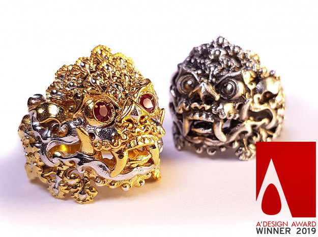 AWARD WINNING DESIGN- Balinese Barong Ring in 18k Gold Plated Brass: 9 / 59