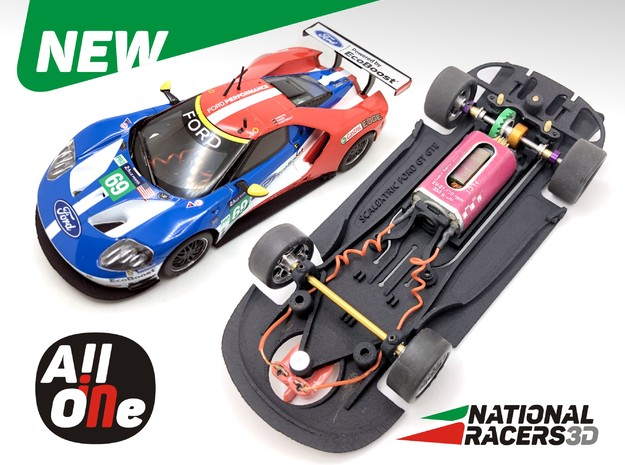 3D Chassis - Scalextric Ford GT GTE (In-AiO) in Black Natural Versatile Plastic