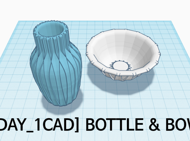 [1DAY_1CAD] BOTTLE in Blue Processed Versatile Plastic