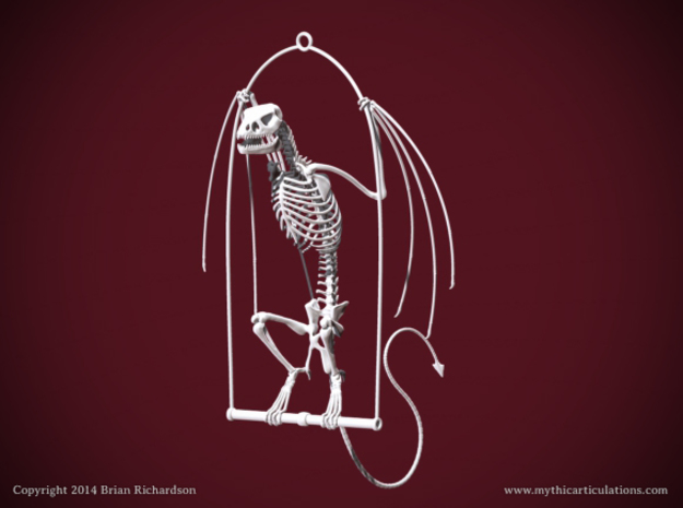 Wyvern Skeleton with Hanging Perch in White Strong & Flexible