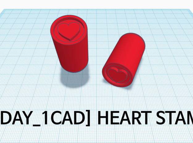 [1DAY_1CAD] HEART STAMP in Red Processed Versatile Plastic