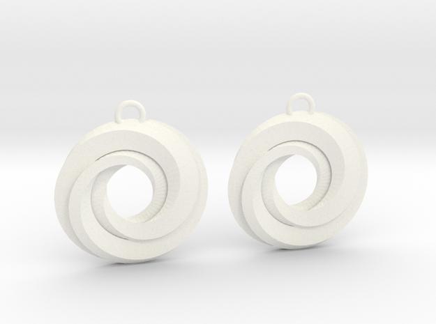Geometrical earrings no.21 in White Processed Versatile Plastic
