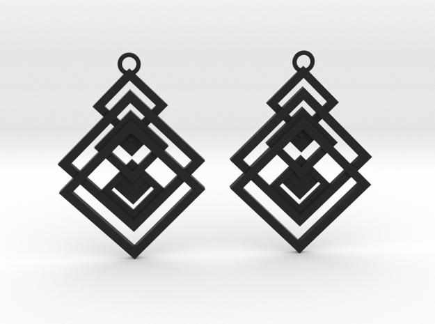 Geometrical earrings no.17 in Black Natural Versatile Plastic: Medium